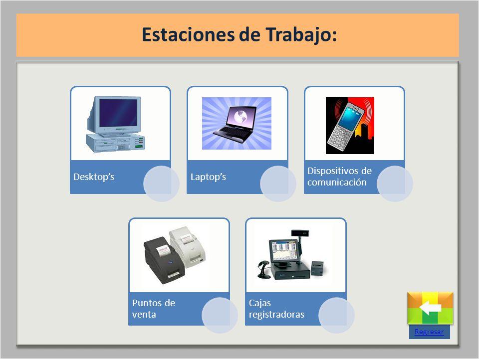 DesktopsLaptops Dispositivos de comunicación Puntos de venta Cajas registradoras Estaciones de Trabajo: Regresar
