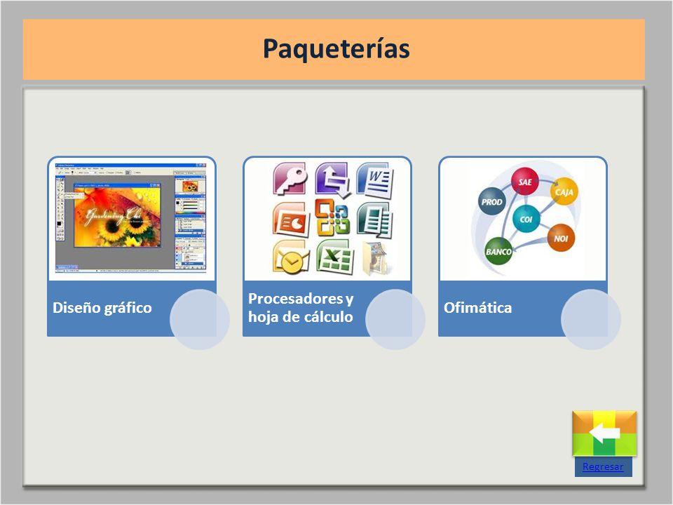 Diseño gráfico Procesadores y hoja de cálculo Ofimática Paqueterías Regresar
