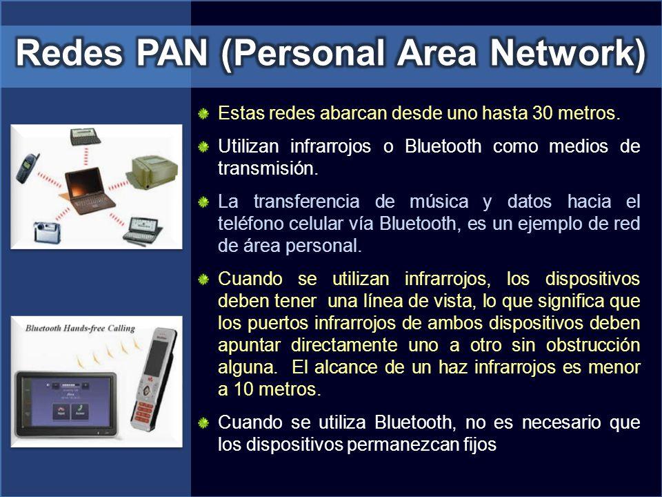 Estas redes abarcan desde uno hasta 30 metros. Utilizan infrarrojos o Bluetooth como medios de transmisión. La transferencia de música y datos hacia e