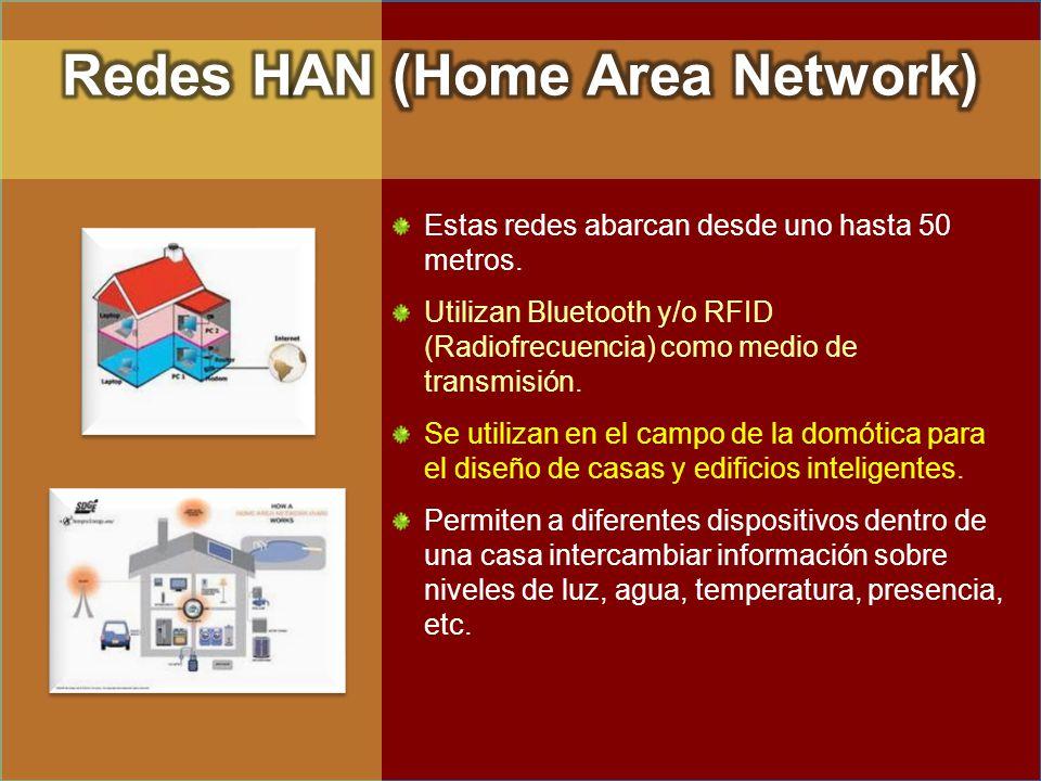 Estas redes abarcan desde uno hasta 50 metros. Utilizan Bluetooth y/o RFID (Radiofrecuencia) como medio de transmisión. Se utilizan en el campo de la
