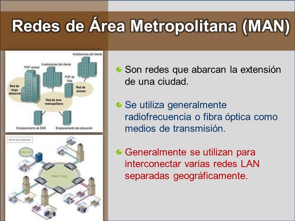 Son redes que abarcan la extensión de una ciudad. Se utiliza generalmente radiofrecuencia o fibra óptica como medios de transmisión. Generalmente se u