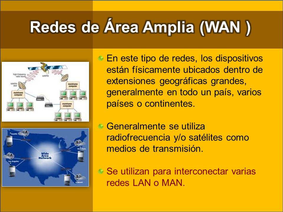 En este tipo de redes, los dispositivos están físicamente ubicados dentro de extensiones geográficas grandes, generalmente en todo un país, varios paí
