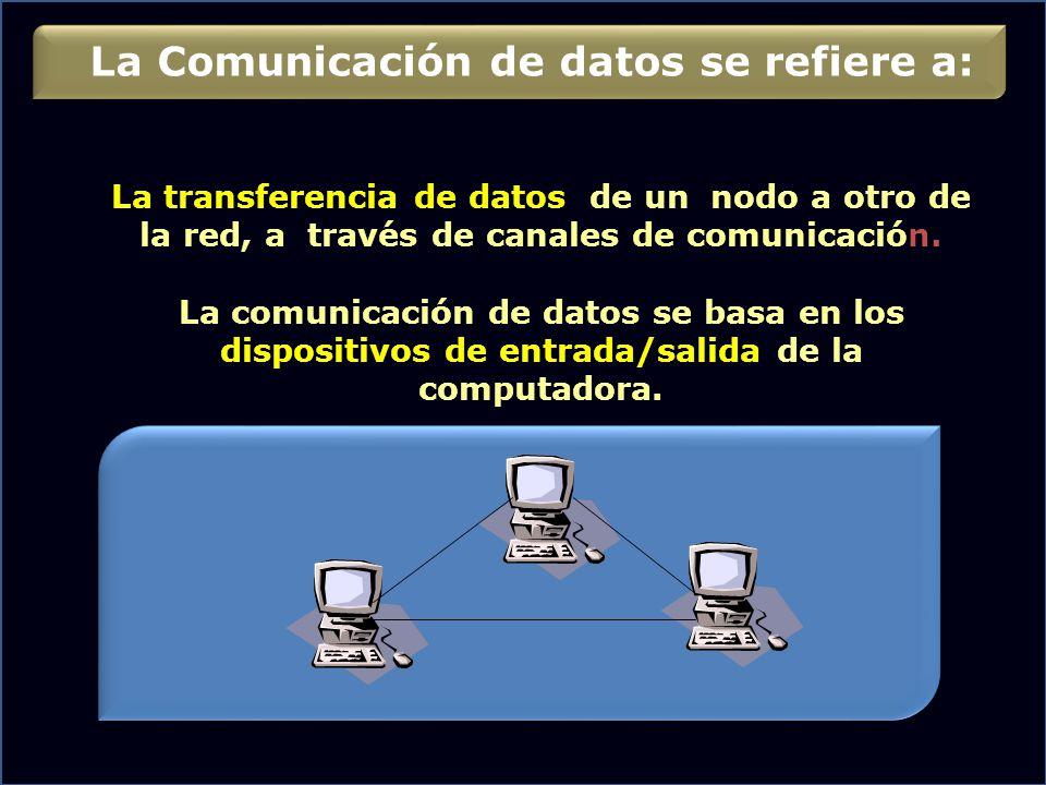 La transferencia de datos de un nodo a otro de la red, a través de canales de comunicación. La comunicación de datos se basa en los dispositivos de en