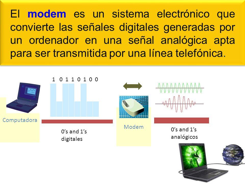 El modem es un sistema electrónico que convierte las señales digitales generadas por un ordenador en una señal analógica apta para ser transmitida por una línea telefónica.