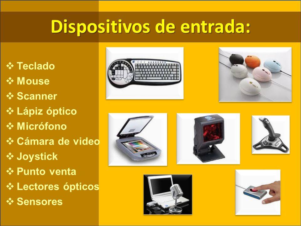 Teclado Mouse Scanner Lápiz óptico Micrófono Cámara de video Joystick Punto venta Lectores ópticos Sensores Dispositivos de entrada: