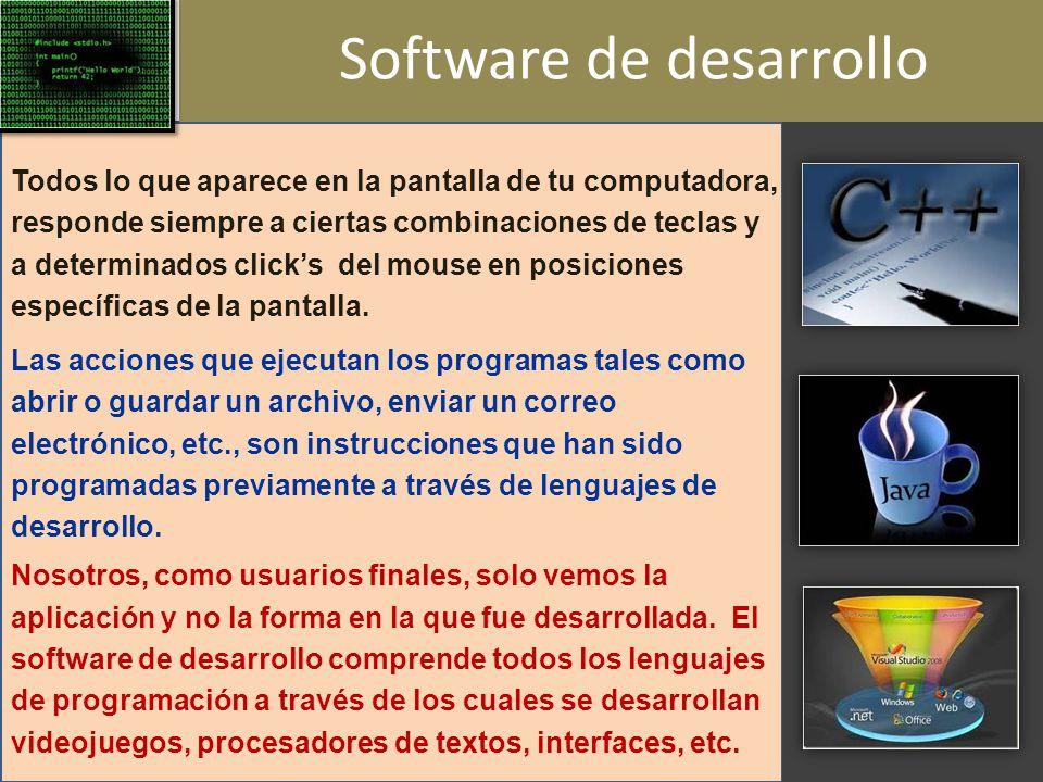 Software de desarrollo Todos lo que aparece en la pantalla de tu computadora, responde siempre a ciertas combinaciones de teclas y a determinados clicks del mouse en posiciones específicas de la pantalla.