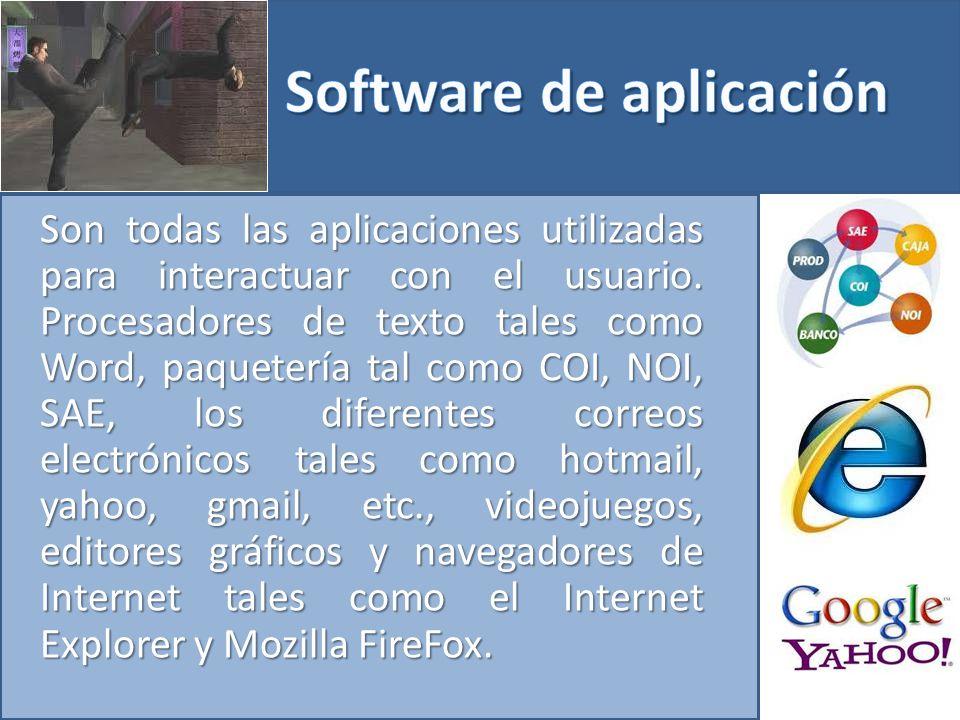 Son todas las aplicaciones utilizadas para interactuar con el usuario.