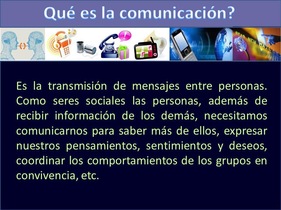 Es la transmisión de mensajes entre personas.