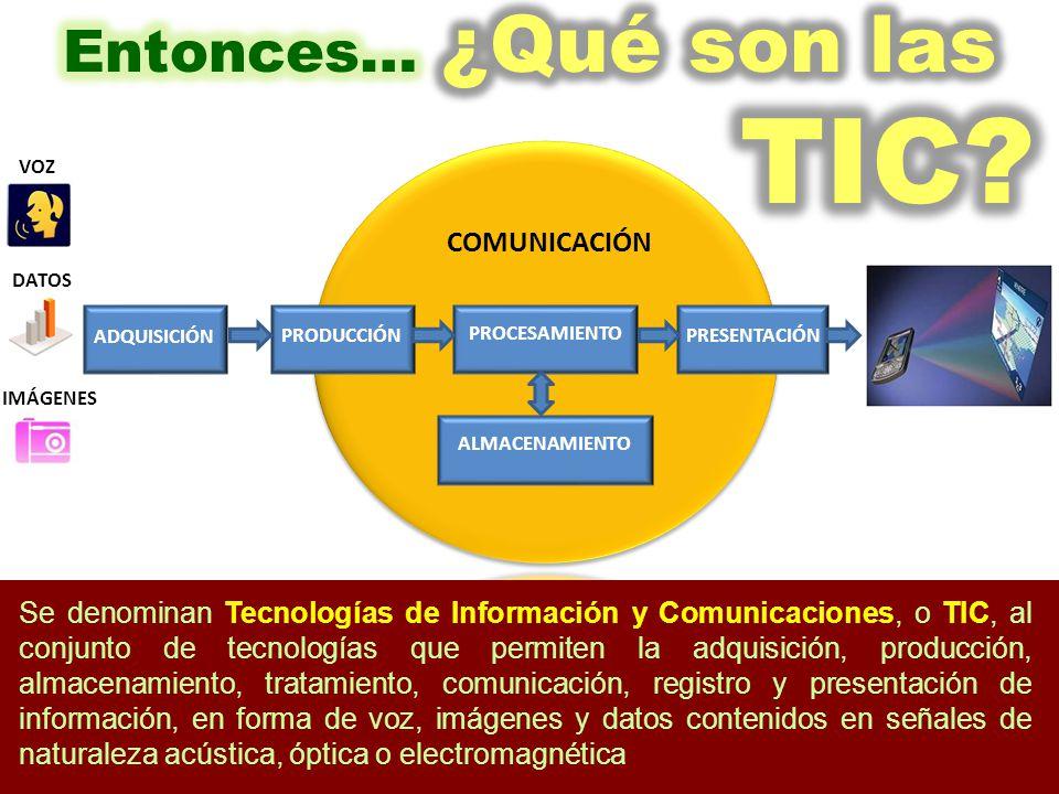 PROCESAMIENTO ALMACENAMIENTO PRESENTACIÓN PRODUCCIÓN COMUNICACIÓN VOZ DATOS Se denominan Tecnologías de Información y Comunicaciones, o TIC, al conjunto de tecnologías que permiten la adquisición, producción, almacenamiento, tratamiento, comunicación, registro y presentación de información, en forma de voz, imágenes y datos contenidos en señales de naturaleza acústica, óptica o electromagnética ADQUISICIÓN IMÁGENES