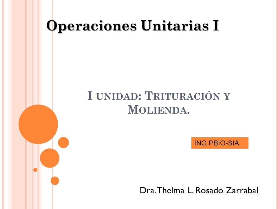 I UNIDAD : T RITURACIÓN Y M OLIENDA. Operaciones Unitarias I Dra. Thelma L. Rosado Zarrabal ING.PBIO-SIA