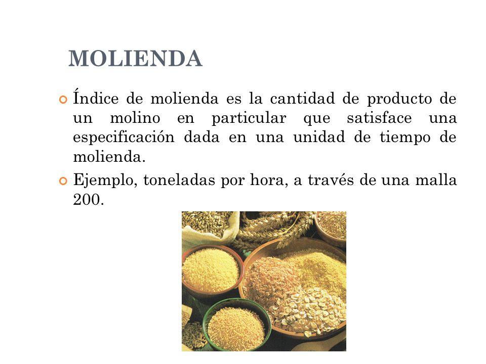 Índice de molienda es la cantidad de producto de un molino en particular que satisface una especificación dada en una unidad de tiempo de molienda. Ej