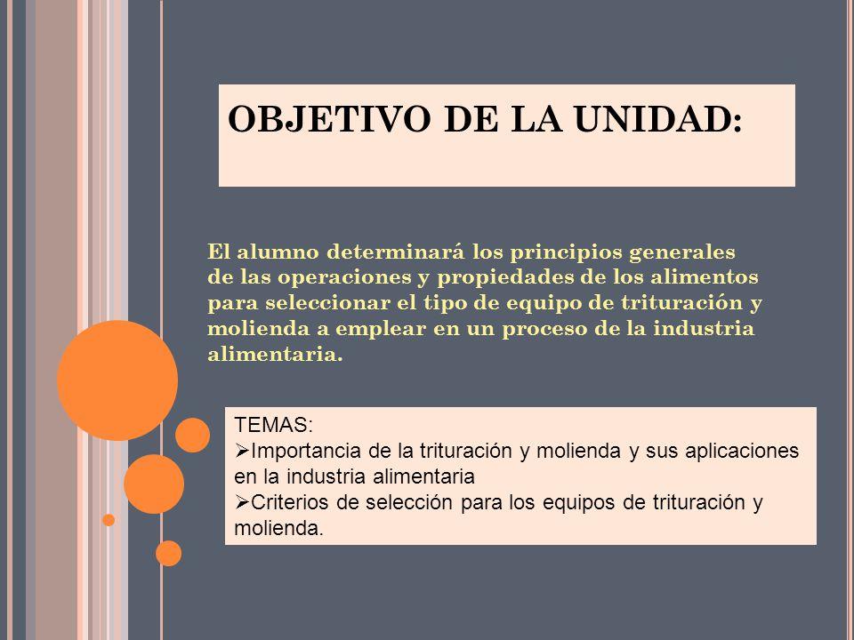 OBJETIVO DE LA UNIDAD: El alumno determinará los principios generales de las operaciones y propiedades de los alimentos para seleccionar el tipo de eq