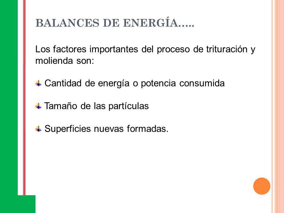 BALANCES DE ENERGÍA….. Los factores importantes del proceso de trituración y molienda son: Cantidad de energía o potencia consumida Tamaño de las part