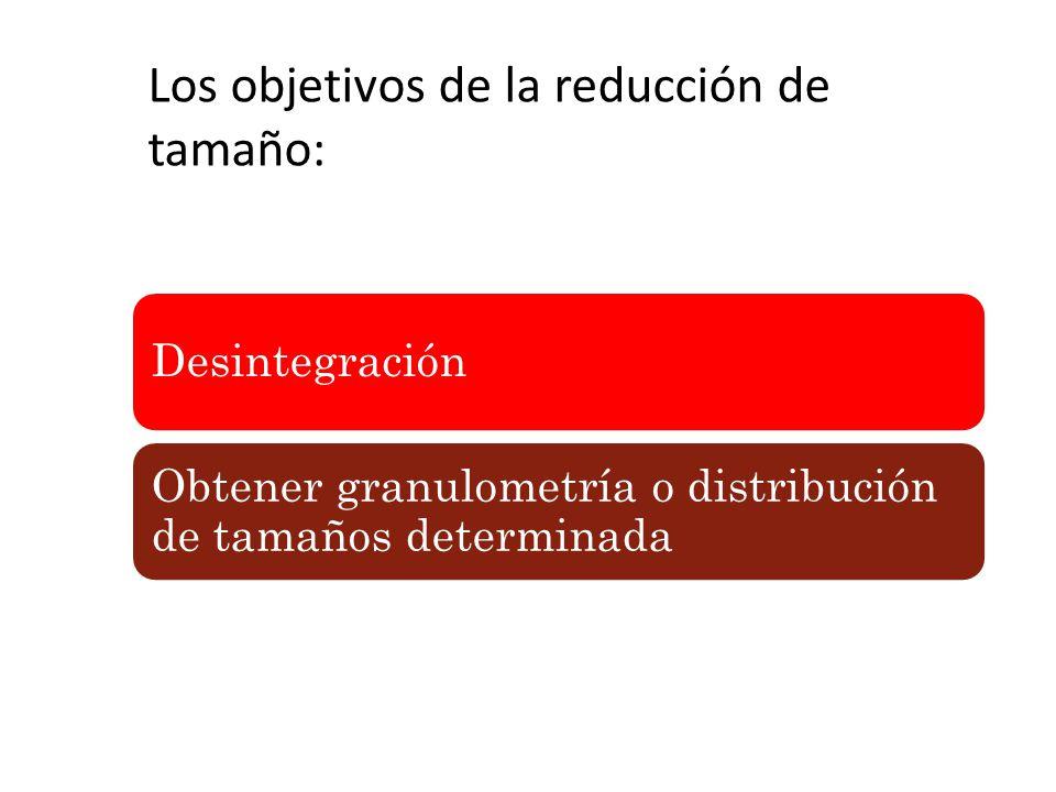 Desintegración Obtener granulometría o distribución de tamaños determinada Los objetivos de la reducción de tamaño: