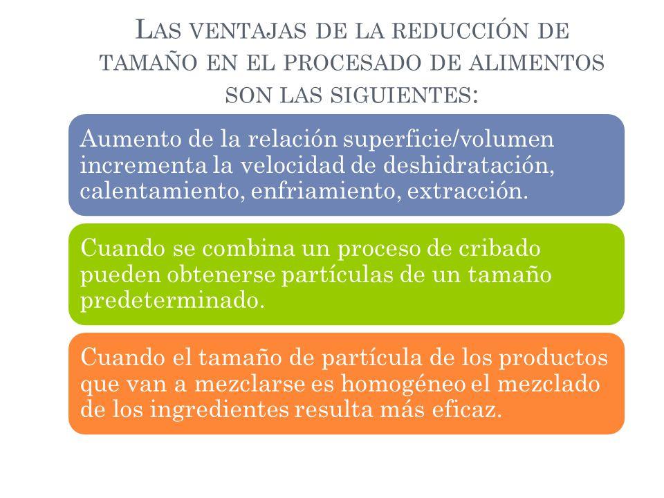 L AS VENTAJAS DE LA REDUCCIÓN DE TAMAÑO EN EL PROCESADO DE ALIMENTOS SON LAS SIGUIENTES : Aumento de la relación superficie/volumen incrementa la velo