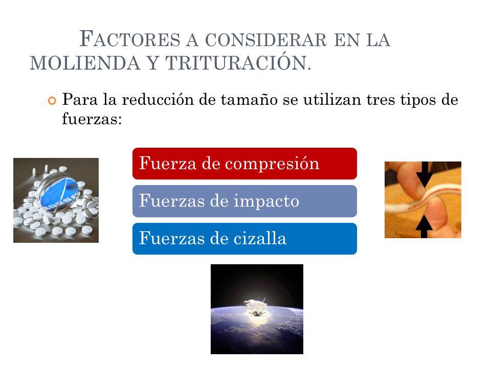 F ACTORES A CONSIDERAR EN LA MOLIENDA Y TRITURACIÓN. Para la reducción de tamaño se utilizan tres tipos de fuerzas: Fuerza de compresiónFuerzas de imp