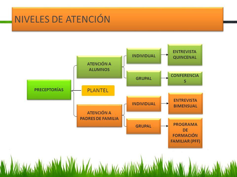 PRECEPTORÍAS ATENCIÓN A ALUMNOS ATENCIÓN A PADRES DE FAMILIA INDIVIDUAL GRUPAL INDIVIDUAL GRUPAL ENTREVISTA QUINCENAL ENTREVISTA BIMENSUAL PROGRAMA DE FORMACIÓN FAMILIAR (PFF) CONFERENCIA S NIVELES DE ATENCIÓN PLANTEL