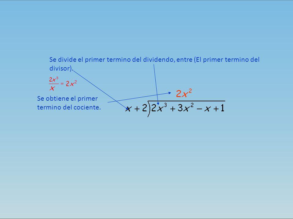 Se divide el primer termino del dividendo, entre (El primer termino del divisor). Se obtiene el primer termino del cociente.
