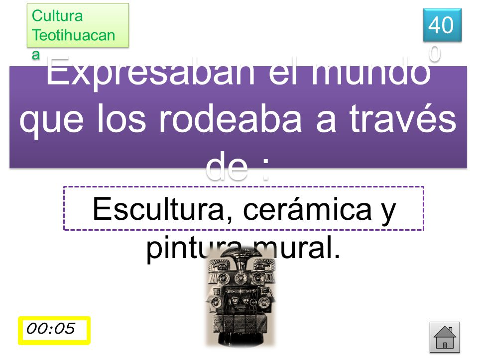 Expresaban el mundo que los rodeaba a través de : Escultura, cerámica y pintura mural. 40 0 Cultura Teotihuacan a 00:01 00:02 00:03 00:04 00:05