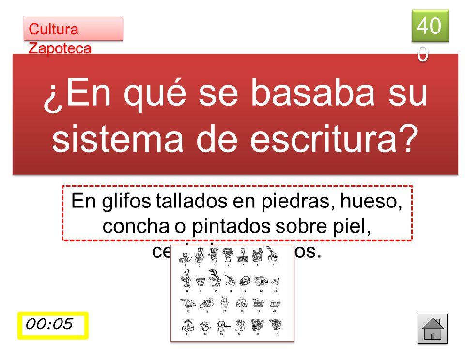 ¿En qué se basaba su sistema de escritura? En glifos tallados en piedras, hueso, concha o pintados sobre piel, cerámica o muros. 40 0 Cultura Zapoteca