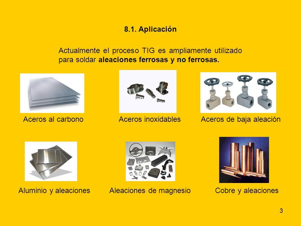 3 8.1. Aplicación Actualmente el proceso TIG es ampliamente utilizado para soldar aleaciones ferrosas y no ferrosas. Aceros al carbono Aluminio y alea