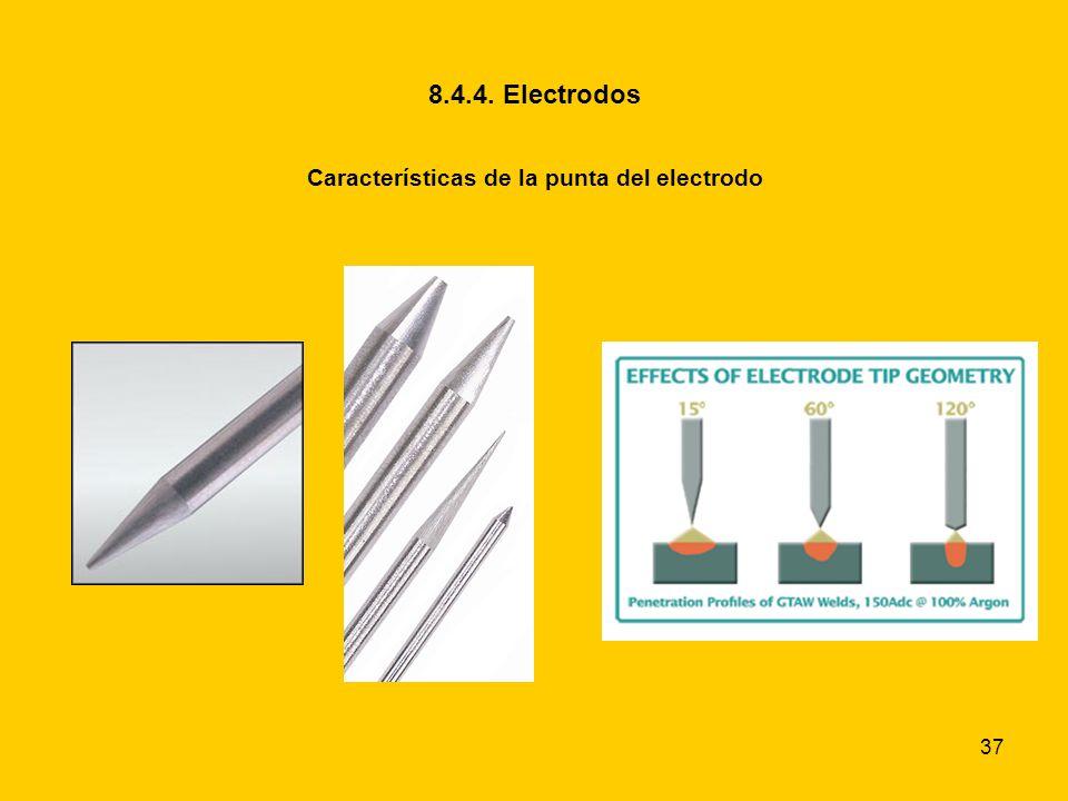37 8.4.4. Electrodos Características de la punta del electrodo