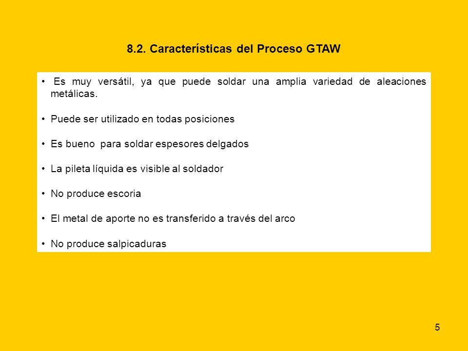 5 8.2. Características del Proceso GTAW Es muy versátil, ya que puede soldar una amplia variedad de aleaciones metálicas. Puede ser utilizado en todas