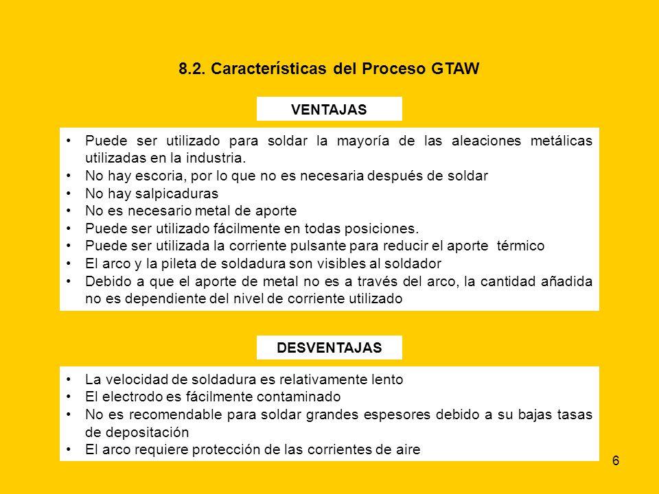 6 8.2. Características del Proceso GTAW VENTAJAS Puede ser utilizado para soldar la mayoría de las aleaciones metálicas utilizadas en la industria. No