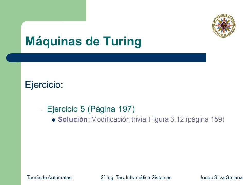 Teoría de Autómatas I2º Ing. Tec. Informática SistemasJosep Silva Galiana Máquinas de Turing Ejercicio: – Ejercicio 5 (Página 197) Solución: Modificac