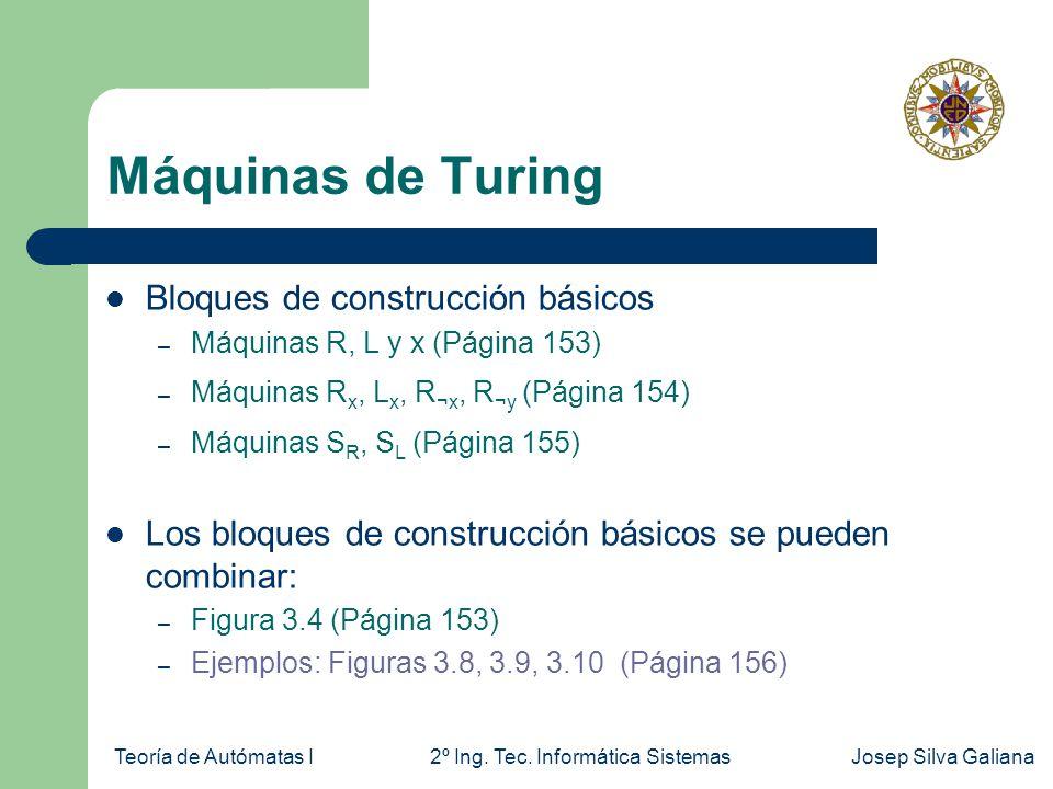 Teoría de Autómatas I2º Ing. Tec. Informática SistemasJosep Silva Galiana Máquinas de Turing Bloques de construcción básicos – Máquinas R, L y x (Pági