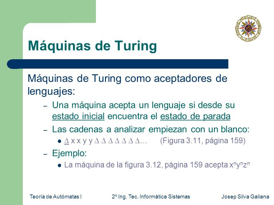 Teoría de Autómatas I2º Ing. Tec. Informática SistemasJosep Silva Galiana Máquinas de Turing Máquinas de Turing como aceptadores de lenguajes: – Una m