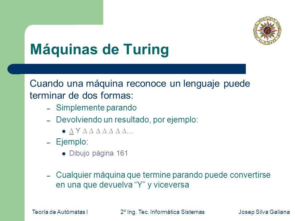 Teoría de Autómatas I2º Ing. Tec. Informática SistemasJosep Silva Galiana Máquinas de Turing Cuando una máquina reconoce un lenguaje puede terminar de