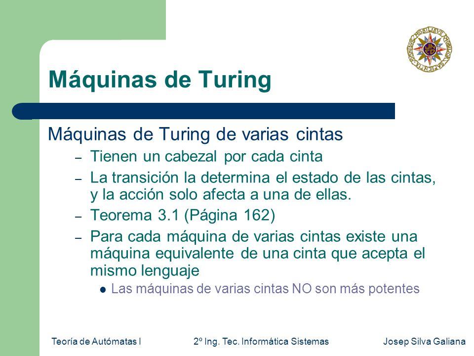 Teoría de Autómatas I2º Ing. Tec. Informática SistemasJosep Silva Galiana Máquinas de Turing Máquinas de Turing de varias cintas – Tienen un cabezal p