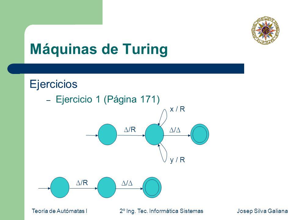 Teoría de Autómatas I2º Ing. Tec. Informática SistemasJosep Silva Galiana Máquinas de Turing Ejercicios – Ejercicio 1 (Página 171) /R x / R y / R / /R