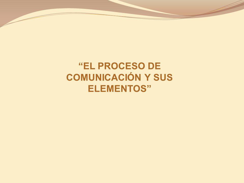 EL PROCESO DE COMUNICACIÓN Y SUS ELEMENTOS