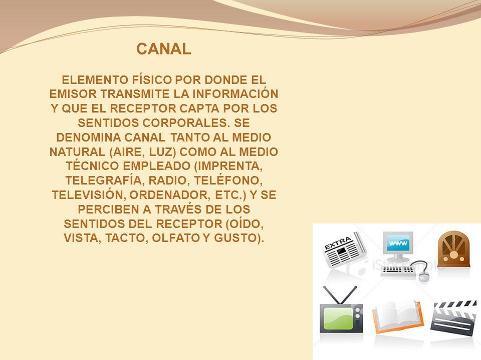 CANAL ELEMENTO FÍSICO POR DONDE EL EMISOR TRANSMITE LA INFORMACIÓN Y QUE EL RECEPTOR CAPTA POR LOS SENTIDOS CORPORALES. SE DENOMINA CANAL TANTO AL MED