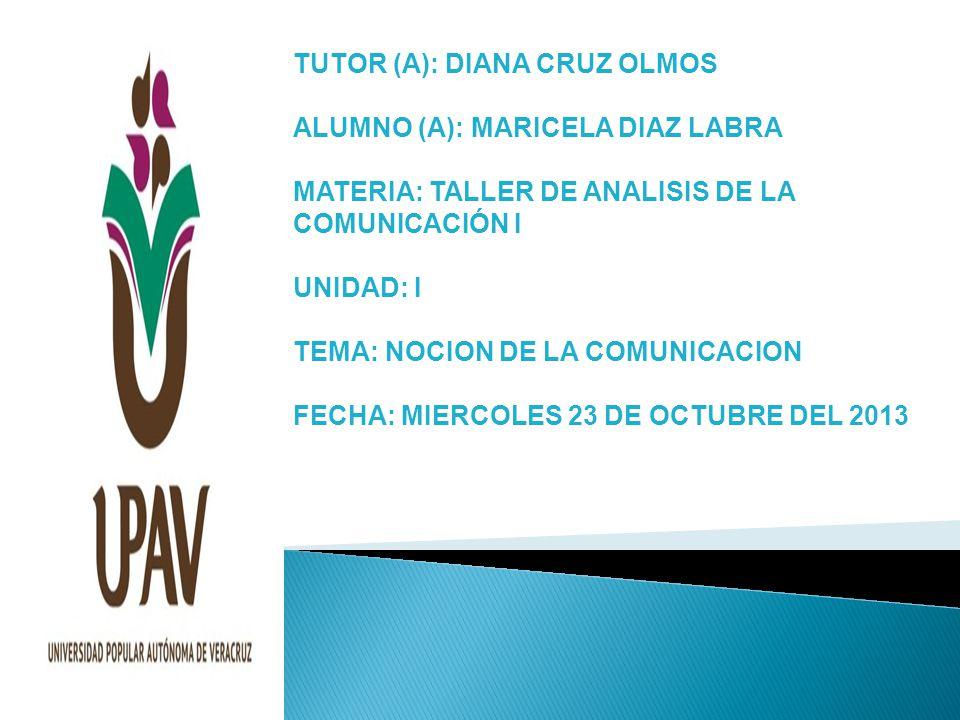 TUTOR (A): DIANA CRUZ OLMOS ALUMNO (A): MARICELA DIAZ LABRA MATERIA: TALLER DE ANALISIS DE LA COMUNICACIÓN I UNIDAD: I TEMA: NOCION DE LA COMUNICACION FECHA: MIERCOLES 23 DE OCTUBRE DEL 2013