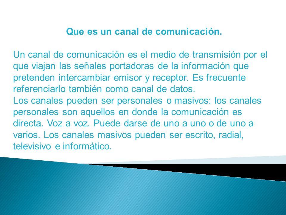 Tipos de canales de comunicación.(Cita ejemplos).