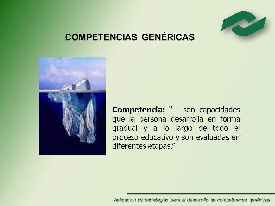 COMPETENCIAS GENÉRICAS Competencia: … son capacidades que la persona desarrolla en forma gradual y a lo largo de todo el proceso educativo y son evaluadas en diferentes etapas.