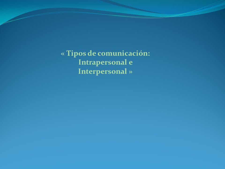 « Tipos de comunicación: Intrapersonal e Interpersonal »