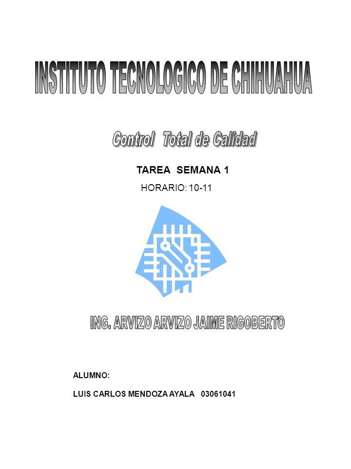 TAREA SEMANA 1 HORARIO: 10-11 ALUMNO: LUIS CARLOS MENDOZA AYALA 03061041