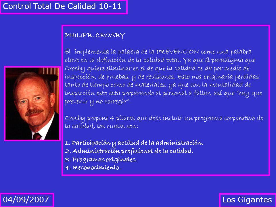 Los Gigantes 04/09/2007 Control Total De Calidad 10-11 PHILIP B. CROSBY Él implementa la palabra de la PREVENCION como una palabra clave en la definic