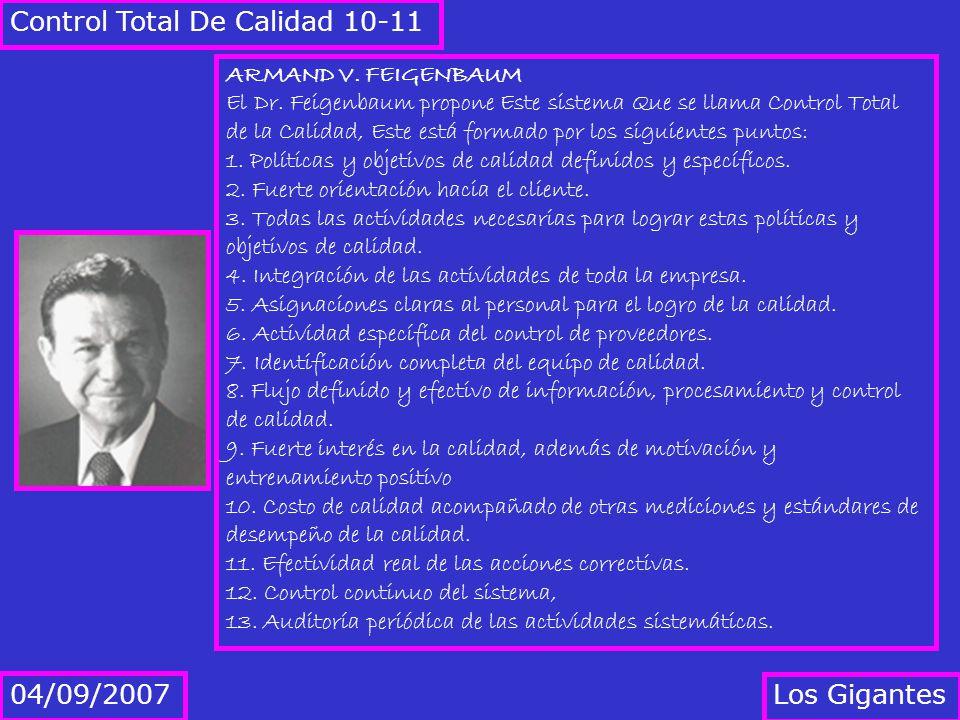 Los Gigantes 04/09/2007 Control Total De Calidad 10-11 ARMAND V. FEIGENBAUM El Dr. Feigenbaum propone Este sistema Que se llama Control Total de la Ca