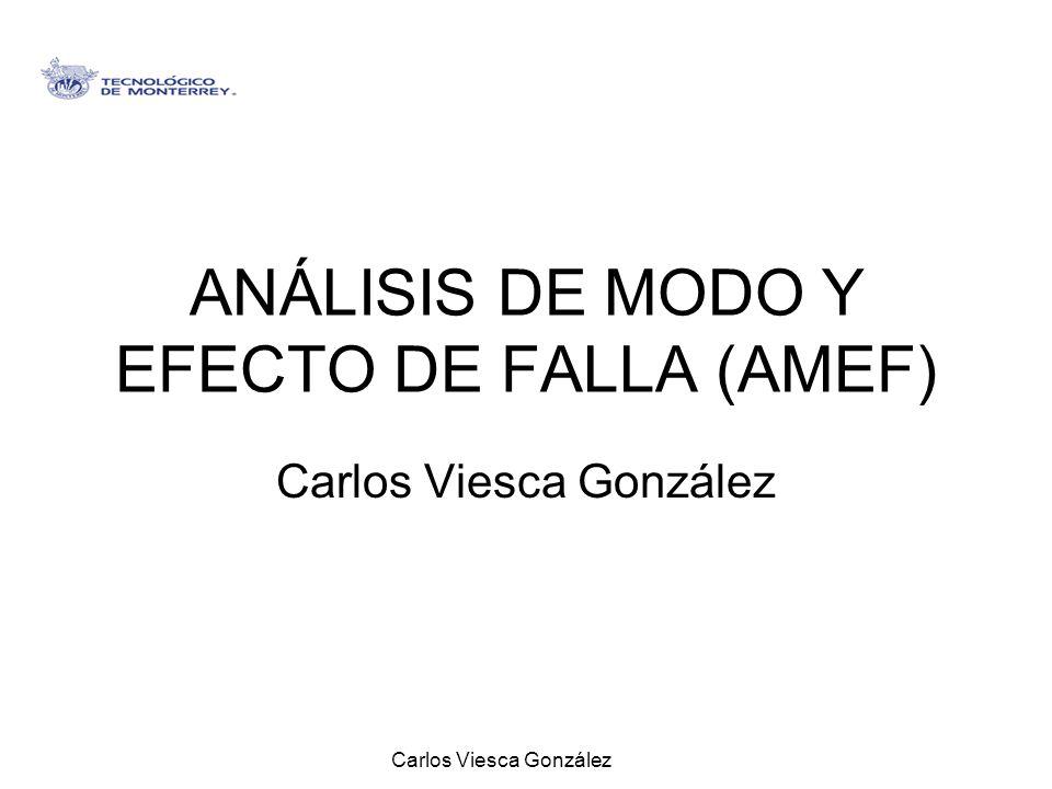 Carlos Viesca González ANÁLISIS DE MODO Y EFECTO DE FALLA (AMEF) Carlos Viesca González