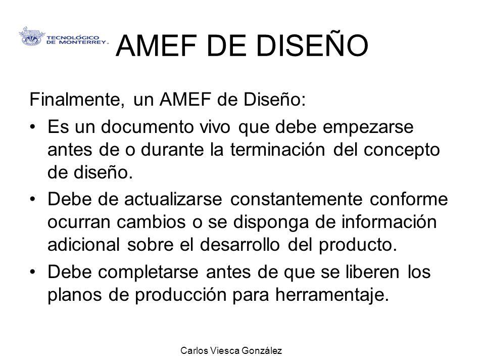 Carlos Viesca González AMEF DE DISEÑO Finalmente, un AMEF de Diseño: Es un documento vivo que debe empezarse antes de o durante la terminación del con