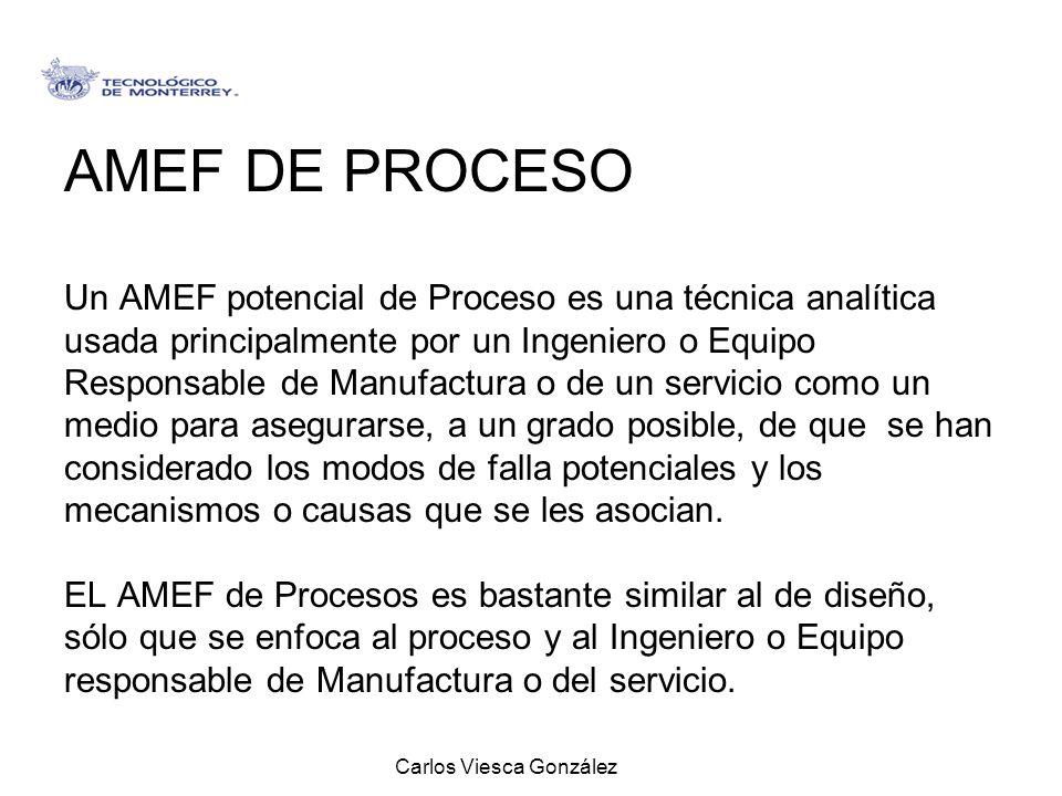 Carlos Viesca González AMEF DE PROCESO Un AMEF potencial de Proceso es una técnica analítica usada principalmente por un Ingeniero o Equipo Responsabl