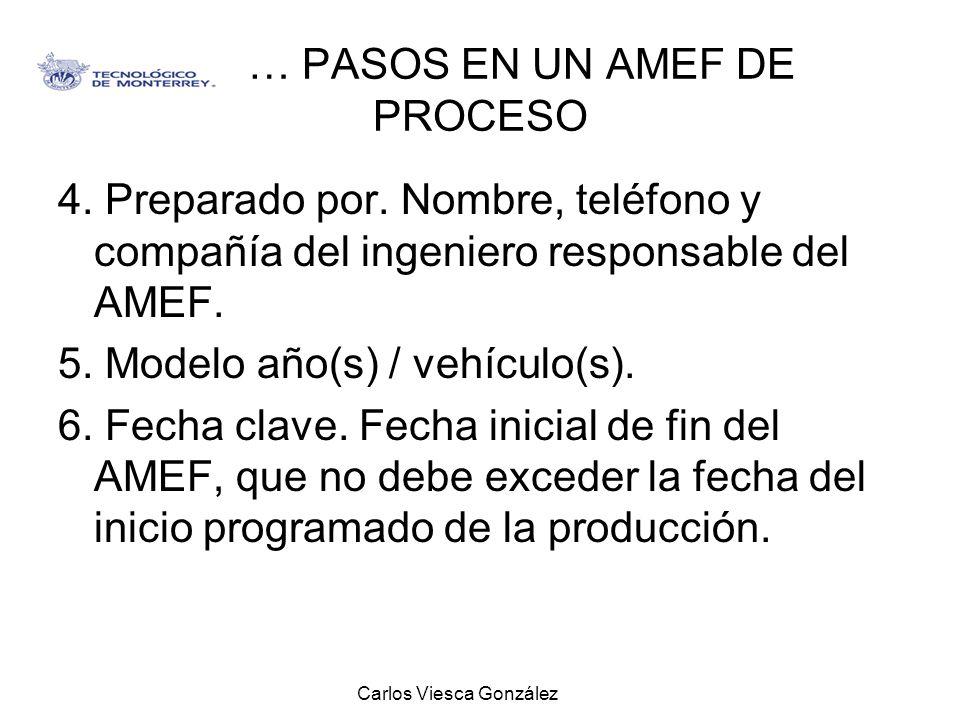 Carlos Viesca González … PASOS EN UN AMEF DE PROCESO 4. Preparado por. Nombre, teléfono y compañía del ingeniero responsable del AMEF. 5. Modelo año(s