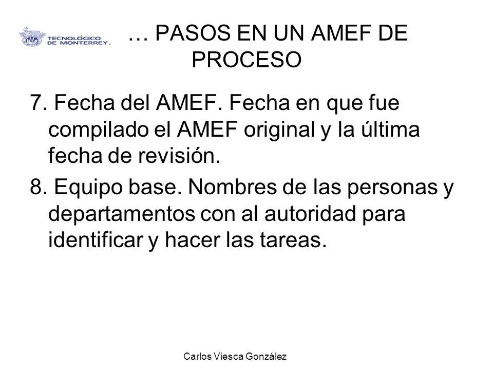 Carlos Viesca González … PASOS EN UN AMEF DE PROCESO 7. Fecha del AMEF. Fecha en que fue compilado el AMEF original y la última fecha de revisión. 8.