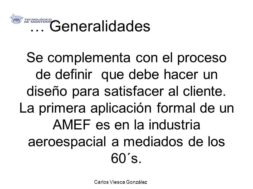 Carlos Viesca González Se complementa con el proceso de definir que debe hacer un diseño para satisfacer al cliente. La primera aplicación formal de u