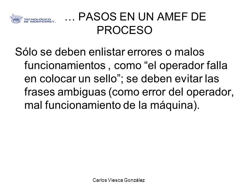 Carlos Viesca González … PASOS EN UN AMEF DE PROCESO Sólo se deben enlistar errores o malos funcionamientos, como el operador falla en colocar un sell